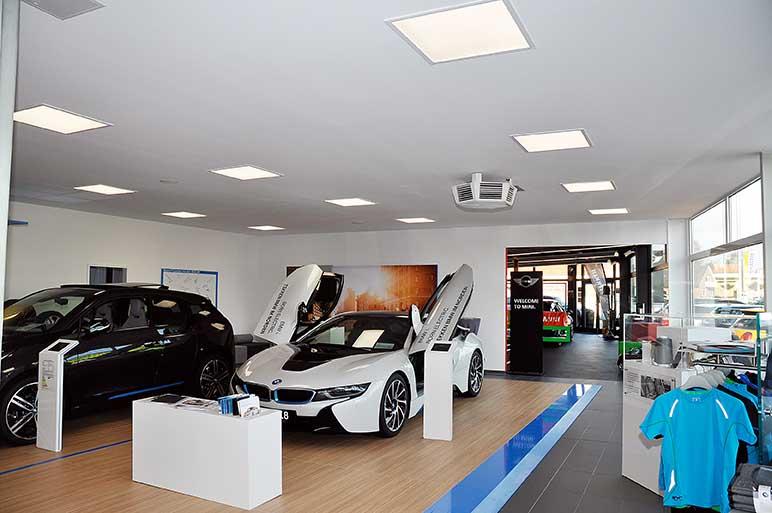 BMW Tekken in Leer: Trockenbauwand, Deckengestaltung, Akustikdecke, Deckenbau, Akustiker.